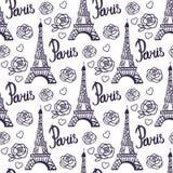 Paris-Schwarztinte Eiffelturm Muster des Vektors nahtloser Vektor Abbildung