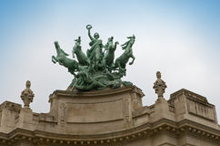 Paris.   Sculpture with horses on building Grand P Royalty Free Stock Photos