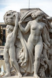 Paris - The sculptures on Tracadero. Trocadero is area of Paris on banks of Seine not far from famous Eiffel Tower. On a hilltop in 1937 built a new palace royalty free stock images