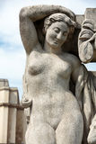 Paris - The sculptures on Tracadero. Trocadero is area of Paris on banks of Seine not far from famous Eiffel Tower. On a hilltop in 1937 built a new palace stock image