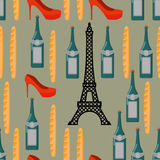 Paris seamless background. French infinite pattern. Attractions Royalty Free Stock Photo