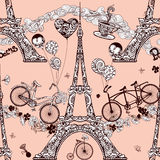 Paris Seamless Pattern Stock Photography