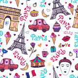 Paris seamless pattern with eiffel tower, triumphal arch and cute doodles.  Stock Photos