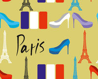 Paris seamless pattern. Flag of France and Eiffel Tower. Women's Royalty Free Stock Image