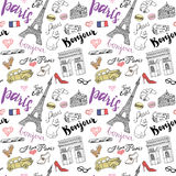 Paris seamless pattern with Hand drawn sketch elements - eiffel tower triumf arch, fashion items. Drawing doodle vector illustrati Royalty Free Stock Photo
