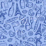 Paris seamless pattern with sketch elements Stock Image