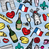 Paris seamless pattern with sketch elements Royalty Free Stock Photo