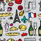 Paris seamless pattern with sketch elements Royalty Free Stock Photography