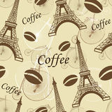 Paris seamless pattern. Seamless pattern Paris with tower Eiffel and coffee Stock Images