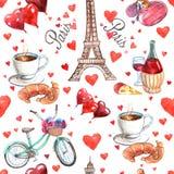 Paris seamless souvenir wrap paper pattern. Paris romantic love culture read heart symbols seamless decorative souvenir wrap paper pattern watercolor abstract Stock Photo