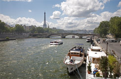 Paris - Seine and Eiffel tower Stock Images