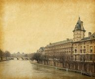 Paris. The Seine near the Pont Neuf,  Paris, France. Photo in retro style. Paper texture Royalty Free Stock Images