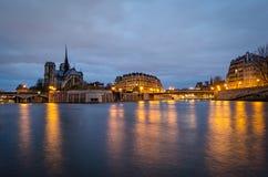 Paris, Seine and Notre Dame Stock Images