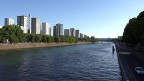 Paris Seine River, People Tourists Boats Traveling on Senna, Ships Trip View 4K stock footage