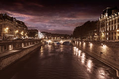 Paris Seine river sunset in France Saint Michel Royalty Free Stock Photography