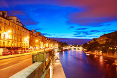 Paris Seine river sunset in France Saint Michel Royalty Free Stock Images