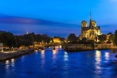 Paris Seine River Twilight View Stock Photo