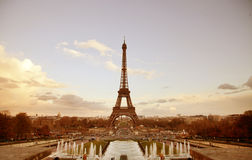 Paris sepia cityscape with Eiffel tower. And fountains