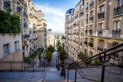 Free PARIS - September 6, 2019 : Typical Parisian Stairway Street On Butte Montmartre Stock Photography - 175076342