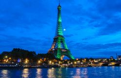 The Eiffel Tower lit up to to celebrate 300 millionth visitor since 1889 opening, Paris, France. Royalty Free Stock Photography