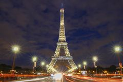 The Eiffel Tower lit up to to celebrate 300 millionth visitor since 1889 opening, Paris, France. Stock Photography