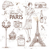 Paris set on note book page Royalty Free Stock Photography