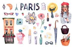 Paris set symbol stock illustration