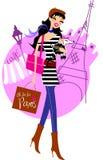 paris shopping stock illustrationer