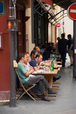Paris Sidewalk Cafe People Eating Stock Photo