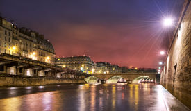 Paris siene river at night Royalty Free Stock Photo