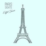 Paris Sights 01 A. Eiffel tower in Paris. Beautiful vector illustration in modern style  on a light blue background. Paris main sights collection Stock Photography