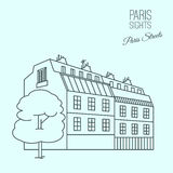 Paris Sights 03 A. Traditional Paris house. Beautiful vector illustration in modern style on a light blue background. Paris main sights collection royalty free illustration