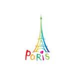 Paris sign. French famous landmark Eiffel tower. Travel France icon Stock Photo