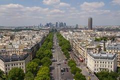 Paris sikt uppifrån av Arc de Triomphe Arkivfoton
