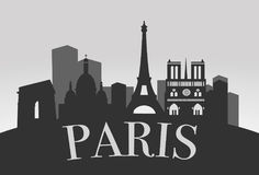 Paris Silhouette Landscape. Logo with isolated buldigs vector vector illustration