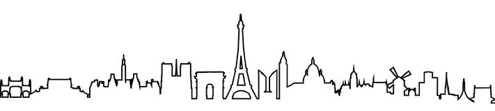 Paris silhouette one line -. Stock stock illustration
