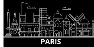 Paris silhouette skyline. France - Paris vector city, french linear architecture, buildings. Paris travel illustration. Paris silhouette skyline. France - Paris royalty free illustration