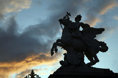 Paris - silhouette of statue from Tuileries garden Royalty Free Stock Image