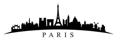 Paris silhouette - stock vector. Paris silhouette sign - stock vector stock illustration
