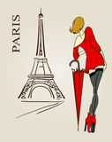 Paris sketch. Eiffel tower and woman with umbrella Stock Photos