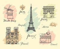 Paris sketches collection Royalty Free Stock Photo