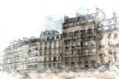 Paris-Skizze stock abbildung