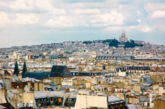 Paris skyline. A view from the Centre Georges Pompidou towards 9th, 10th and 18th arrondissements with Sacre Coeur and Paris roofs Stock Images