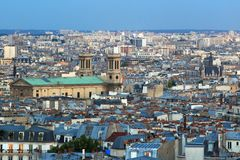 Paris skyline. The Paris skyline seen from the Sacre-Coeur at sunset, France Royalty Free Stock Images