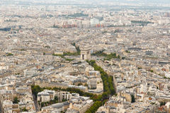 Paris skyline from above. Color DSLR wide angle stock skyline of Paris, France, with the Arc de Triomphe at the center. Urban scene shot from top of Eiffel Tower Stock Photos