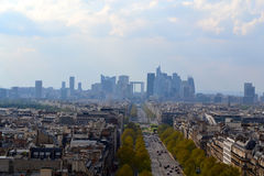 Paris Skyline from the Arc de Triomphe. A view of the Paris skyline from the top of the Arc de Triomphe on a cloudy or hazy day Stock Photos