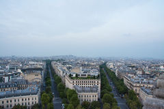 Paris skyline. Skyline of Paris with avenues of Hoche and Friedland, as seen from Arc de Triomphe Royalty Free Stock Image
