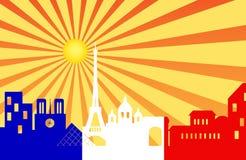 Paris skyline behind sun ray with French flag Stock Photos