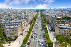 Paris skyline Champs Elysees and Concorde. Aerial view in France royalty free stock photos