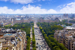 Paris skyline Champs Elysees and Concorde. Aerial view in France royalty free stock images